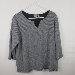 Chicos Tunic Top Striped 3/4 Sleeves #565